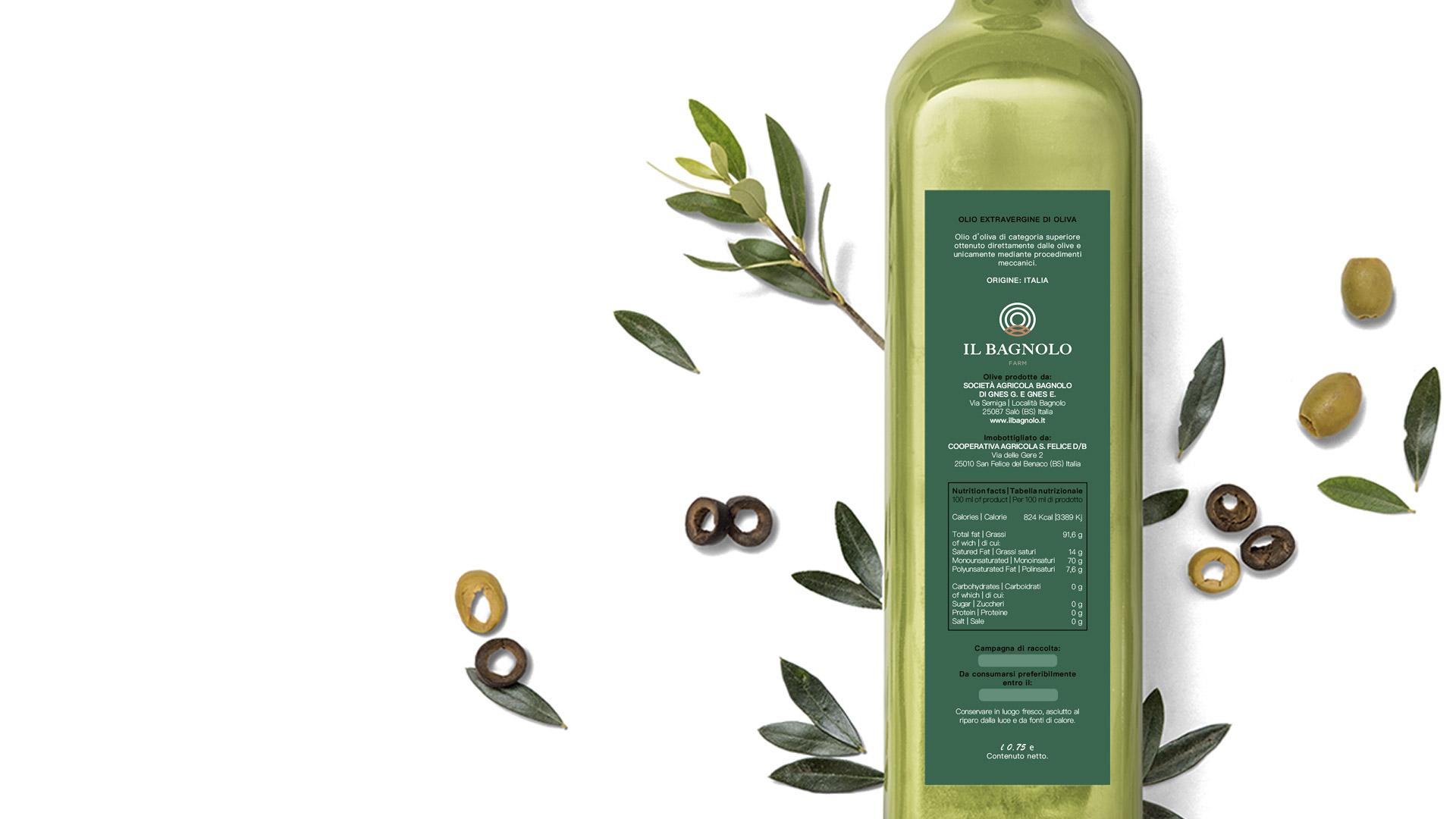 Retro etichetta bottiglia dell'olio de Il Bagnolo Eco Lodge realizzata da Valenti04.