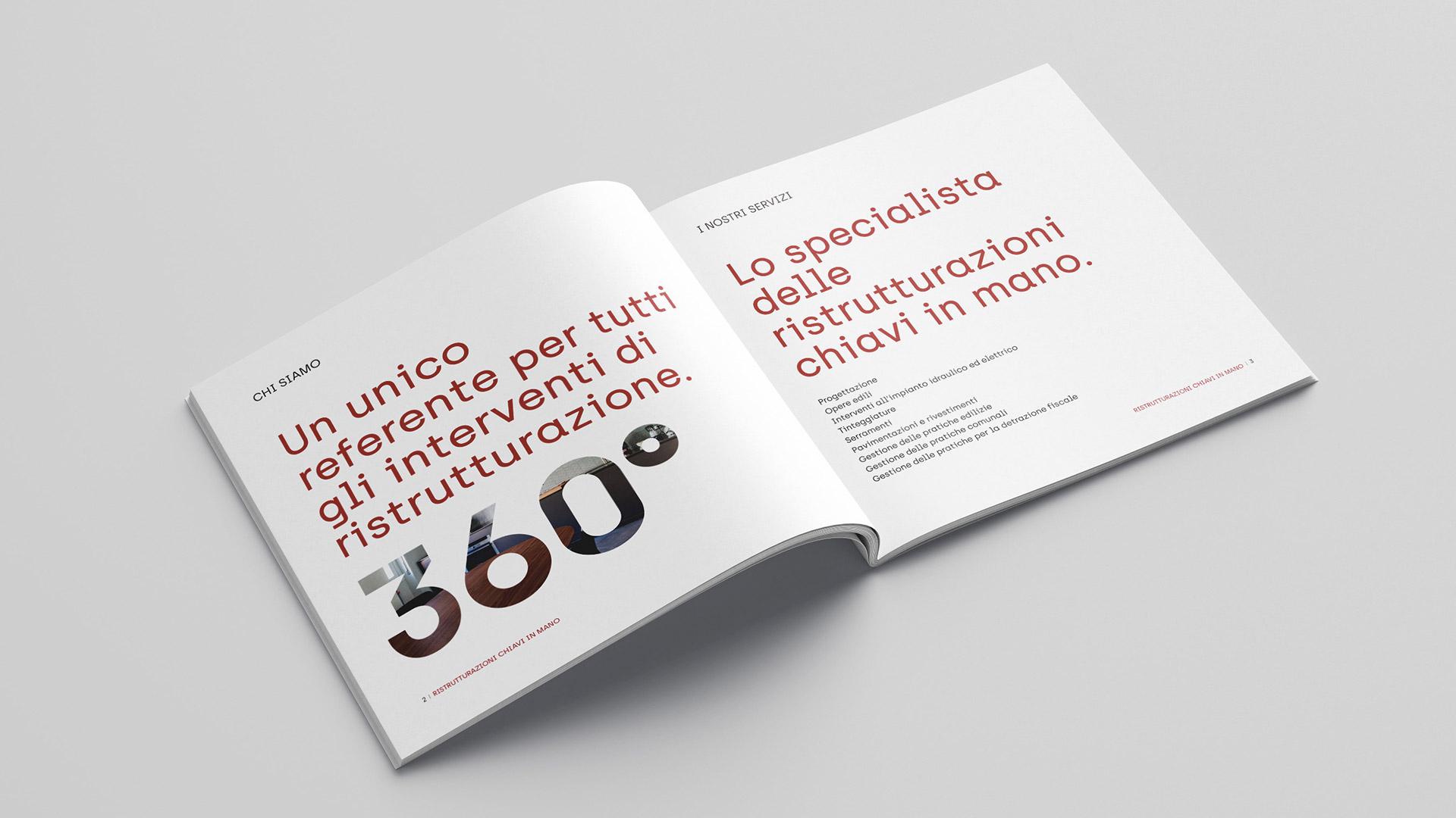 Interno brochure aziendale realizzato da Valenti04 agenzia di comunicazione e grafica
